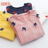 長袖T恤—秋冬女童裝新款打底衫中大童兒童中高領長袖全棉T恤女孩上衣 korea時尚記