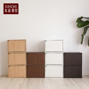 【木森雅居】KIMORI S-Cabinet可堆疊收納櫃(附門)深胡桃木色款