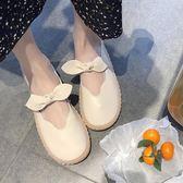 小皮鞋女春秋韓版百搭蝴蝶結圓頭軟底豆豆鞋娃娃鞋單鞋