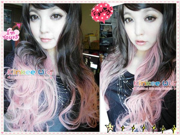 *╮Kinkee假髮╭*日本GAL系小惡魔電力100%時下最流行的漸層雙色耐熱長捲髮 (粉)【P0027】