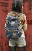 PPA018 熱銷日韓 丹寧 牛仔包 旅行包 書包 電腦包 肩背手提 斜背 男女後背包 經典款