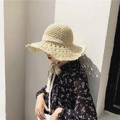 手工蕾絲系帶花邊草帽 遮陽沙灘大檐帽子可折疊【多多鞋包店】m200