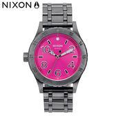 NIXON 手錶 原廠總代理 A410-2096 SMS 38-20 銀紫色 潮流時尚鋼錶帶 男女  生日 情人節禮物