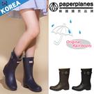 簡約扣帶 防水 低筒 雨靴 雨鞋 【B79101193】 韓國paperplanes紙飛機