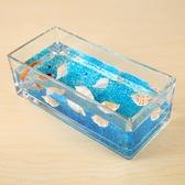 加厚中式簡約透明玻璃花瓶迷你水族金魚缸客廳茶幾裝飾水培擺件