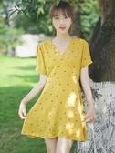 帛卡琪2019夏新款復古少女黃色雪紡裙印花甜美高腰中裙碎花連身裙