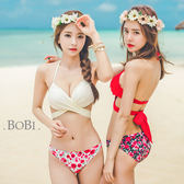 比基尼 泳衣 泳裝 碎花綁帶繞頸兩件套比基尼泳裝【SF000】 BOBI  04/14