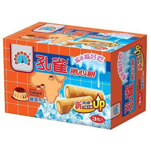 孔雀雞蛋布丁捲心餅63g x3入【愛買】