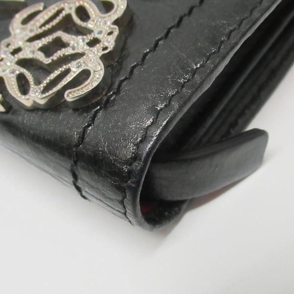 LOEWE 羅威 黑色蠟光牛皮拼接多色羊皮釦式二折長夾 【二手名牌BRAND OFF】