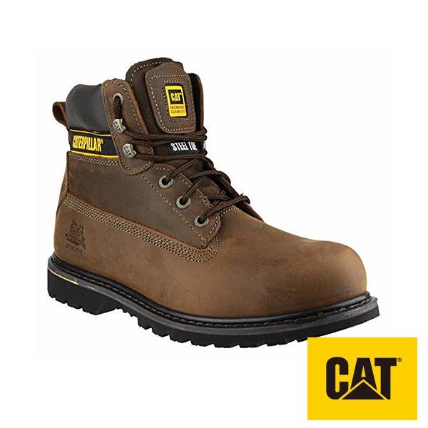 CAT 男款 MENS HOLTON STEEL TOE 橡膠底 耐磨抗濕滑 鋼頭鞋 真皮工作高筒靴 - 咖 CA708025