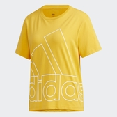 ADIDAS Big Logo Tee 女裝 短袖 休閒 慢跑 落肩 棉質 男友風 空心大LGOG 黃【運動世界】GL7164