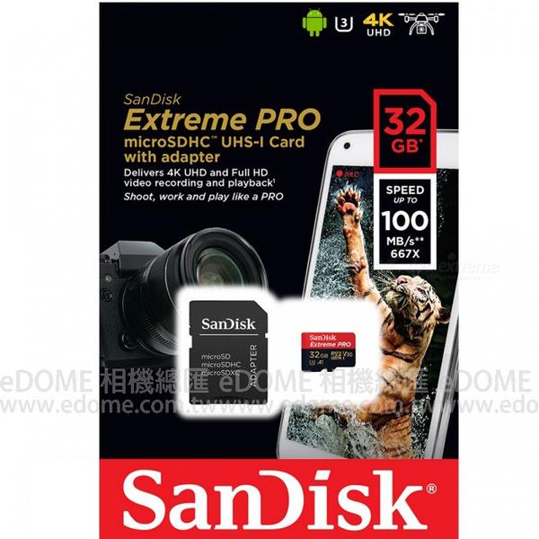 SanDisk Extreme PRO micro SD SDHC 32GB 100MB/S 667X V30 A1 附轉卡 (增你強/群光終身保固) 32G SDSQXCG-032G