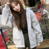 EASON SHOP(GU3098)韓國秋季簡約休閒復古文青基本款學院風純色素色單色寬鬆長袖連帽外套夾克