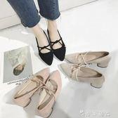 春季新款尖頭中跟單鞋韓版粗跟淺口高跟鞋女鞋學生百搭涼鞋 時尚潮流