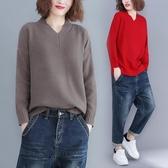 秋冬胖MM文藝加厚大尺碼女上衣 寬鬆針織套頭長袖打底V領毛衣潮 降價兩天