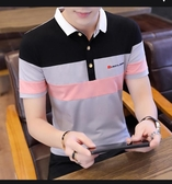 POLO衫 丅恤夏季新款純棉男士短袖t恤大碼修身翻領有帶領男裝polo衫(快速出貨)