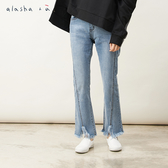 a la sha+a  修身弧度剪接微喇叭牛仔褲