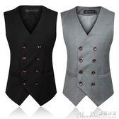 馬甲男士西裝馬甲英倫韓版大碼雙排扣修身春秋款男裝西服 曼莎時尚