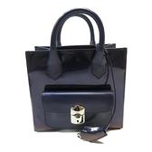 BALENCIAGA 巴黎世家 藍紫色牛皮亮面手提斜背兩用包 Padlock Mini Bag【BRAND OFF】