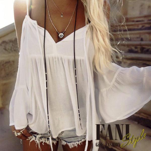 方妮FaNi❤【飄逸女神雪紡喇叭袖露肩一字領上衣】薄外套沙灘海灘洋裝針織罩衫