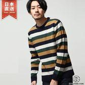 羊毛針織衫 撞色條紋圓領毛衣
