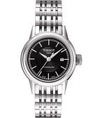 TISSOT 天梭 T-Classic Carson 經典機械女錶-黑/銀 T0852071105100