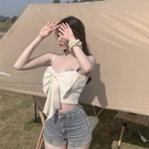 背心女 蝴蝶結吊帶背心女設計感小眾外穿夏季內搭純欲風美背短款辣妹上衣【快速出貨】