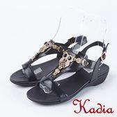 ★2018春夏新品★Kadia.貓頭鷹造型牛皮涼鞋(8104-90黑)