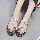 夏季新款韓版chic涼拖鞋女時尚水鉆平底外穿套趾拖鞋兩穿女鞋  草莓妞妞