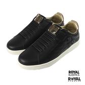 Royal Sbi 黑色 皮質 套入 休閒鞋 男款 NO.B1084【新竹皇家 02594-910】