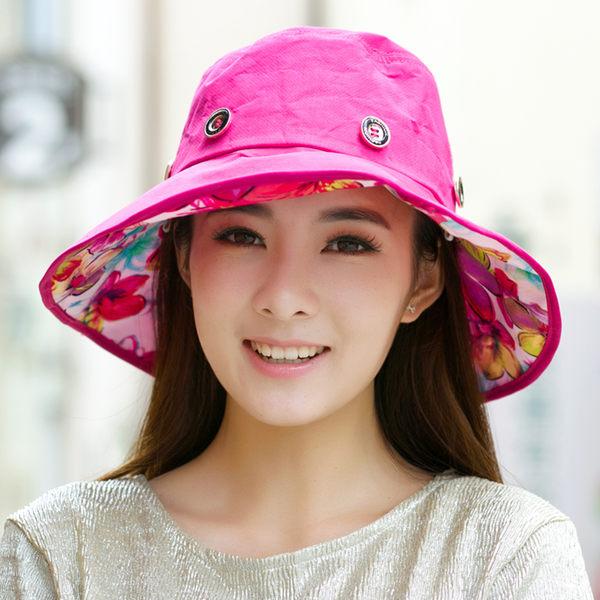 太陽帽子超大沿沙灘帽女士戶外遮陽帽夏天涼帽防紫外線防曬可折疊