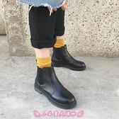 短靴 圓頭馬丁靴女秋冬季厚底短筒單靴平底切爾西靴機車靴子潮 - 小衣里大購物