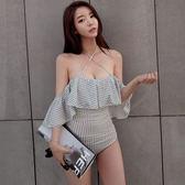 韓國荷葉邊性感露肩三角連體泳衣女顯瘦游泳衣鋼托聚攏比基尼小胸