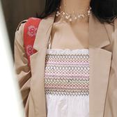 魚線多層珍珠項?簡約網紅鎖骨?短款頸帶頸?項圈脖子飾品女