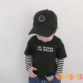 男童純棉長袖T恤秋裝兒童寶寶打底衫條紋袖假兩件套上衣【淘嘟嘟】