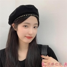 貝雷帽甜酷風~金屬星星黑色貝雷帽女夏季薄款透氣畫家帽氣質時尚八角帽 芊墨