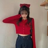 2020正韓春款修身顯瘦心機本命紅色小衫 短款上衣開衫長袖T恤女 降價兩天