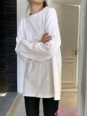打底T恤白色打底衫女秋冬2021新款長袖內搭上衣韓版寬鬆加絨黑色圓領T恤 JUST M