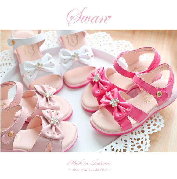Swan天鵝童鞋-幸運草小鑽蝴蝶結涼鞋 3787-白