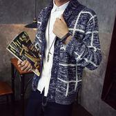 新款開衫男潮流男士毛衣格子青少年時尚線衣韓版針織衫外套