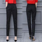 女褲秋季哈倫褲女夏季薄款九分小腳顯瘦西裝褲長褲黑色高腰休閒褲   夢曼森居家