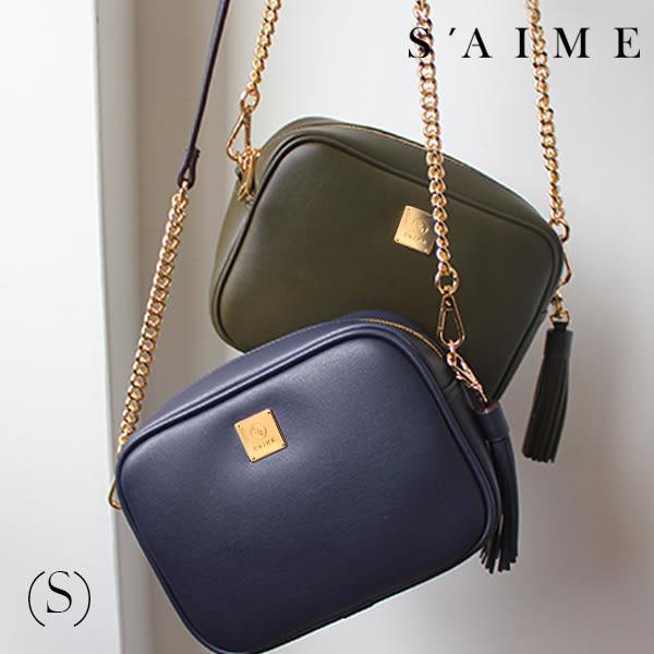 斜背包-方塊鏈條流蘇小方包(S) 2WAY 側背包 肩背 隨身 小包 包包【SBG28-A013S】S'AIME東京企劃