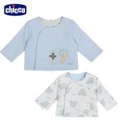 chicco-粉彩-剪毛絨+滿底印花雙面外套-藍
