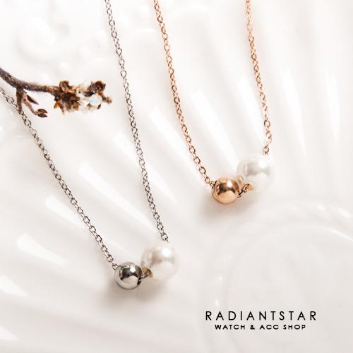 [鈦鋼]熟悉的靠近大小雙珠閨蜜鎖骨鍊項鍊【KTL418】璀璨之星☆