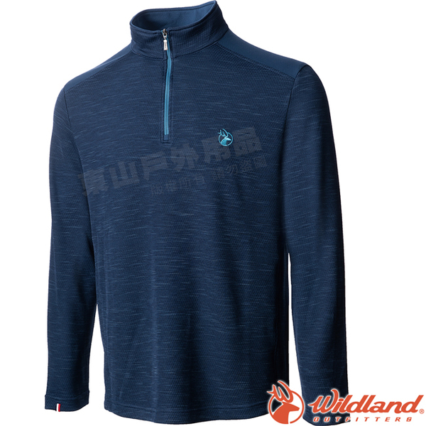 Wildland 荒野 0A72608-72深藍色 男雙色立領長袖上衣 小立領中層衣/半門襟彈性衫/POLO休閒衫