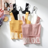 韓范chic無袖背心女2019春夏個性破洞露臍針織吊帶撞色字母上衣短