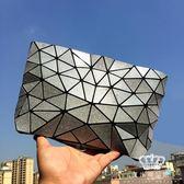 鐳射包 斜背包幾何菱格手拿鏈條小包