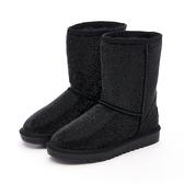 MICHELLE PARK 華麗冬季 平口滿版水鑽中筒雪靴-黑