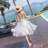 白色一字肩洋裝2018新款女夏露背海邊度假裙韓國超仙泰國沙灘裙 晴光小語