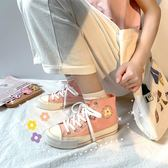 高筒鞋鮀品迷戀綠高筒帆布鞋女韓版泫雅風女鞋子夏潮鞋神仙櫻花布鞋 曼慕衣櫃
